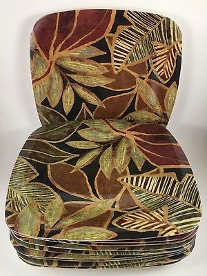 Melamine Tropical Dinner Plates Set of 14 Browns Greens Deep Reds Palm Leaves