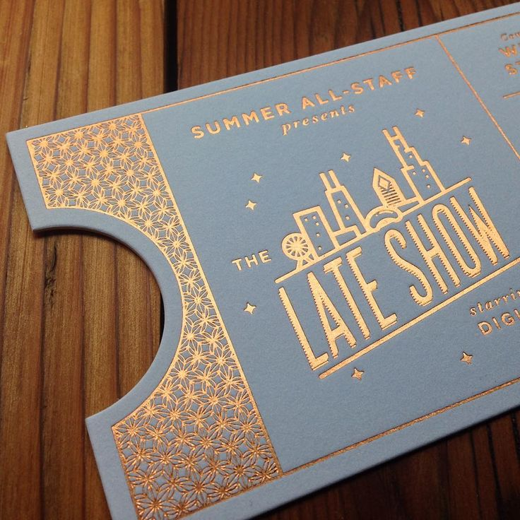Gold Foil Invitation With A Ticket Style By Rohner Letterpress.  Concert Ticket Design