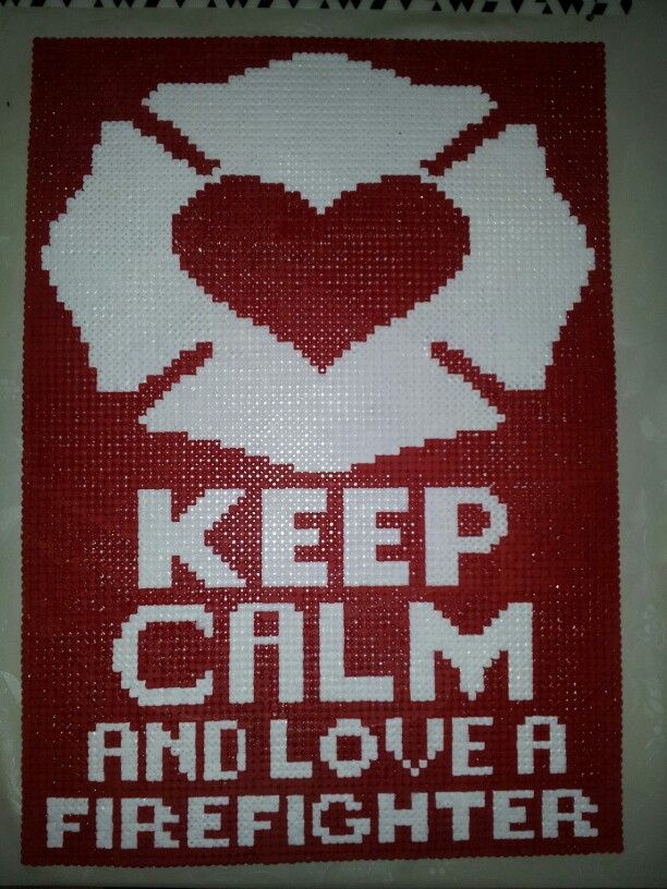 Pattern made by me <3  #keep #calm #and #love #a #firefighter #heart #perler #pearl #pearlbeads #pattern #hama