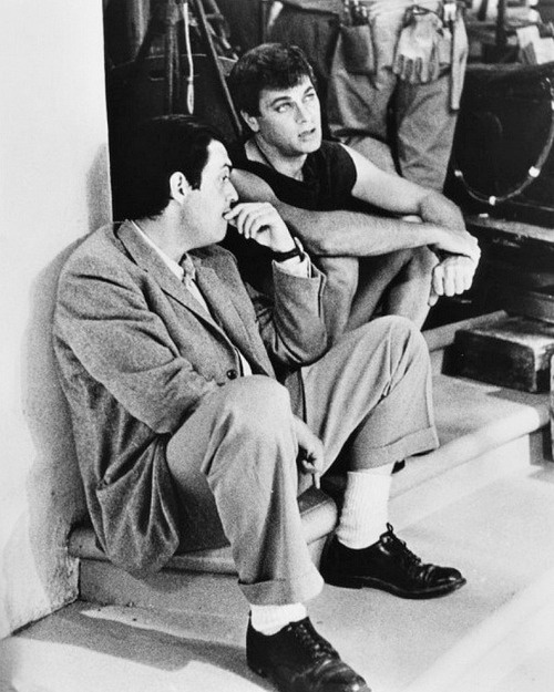 Stanley Kubrick and Tony Curtis on set of Spartacus (1960)