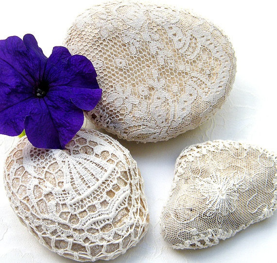 Lace crochet stones 3 Nature decorated river pebble by Mintook, $39.00  http://www.etsy.com/treasury/ODYyNzkyMnwyNzIwMTU3MzU3/i-went-to-a-garden-party-to-reminisce
