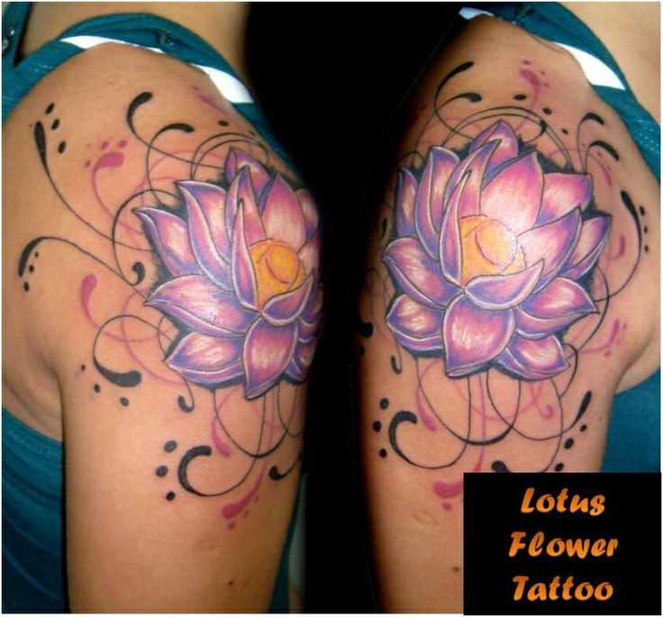 Bright Purple and White (spirally) Lotus flower tattoo  I think I like the deeper, rich colors in contrast to the bright over just all bright.