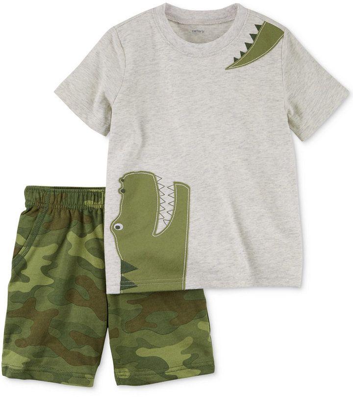 Carter's 2-Pc. Cotton Alligator T-Shirt & Camo Shorts Set, Baby Boys (0-24 months)