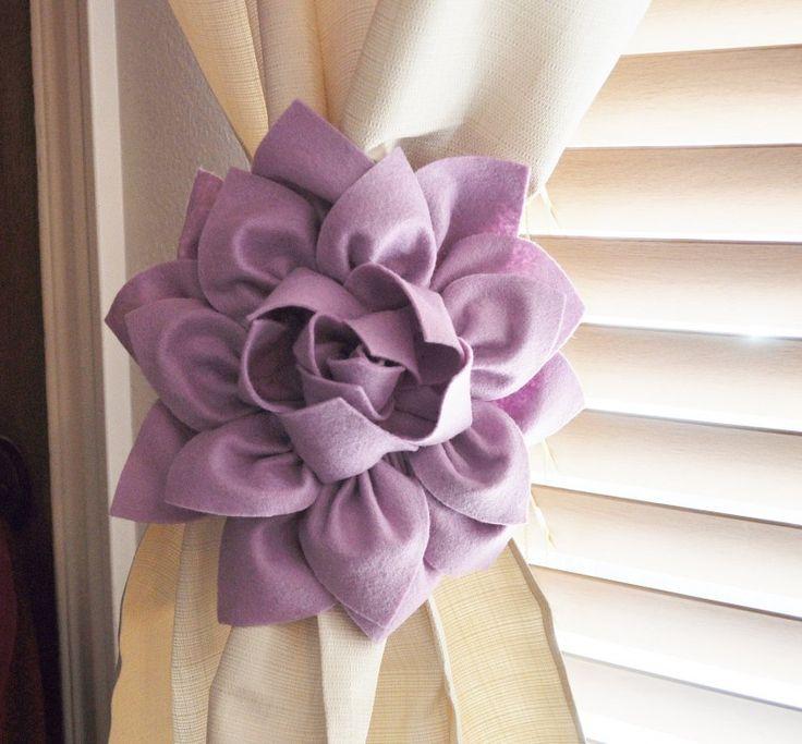 Furniture Shabby Chic Curtain Tieback Purple Dahlia Tieback For Curtain Wooden…