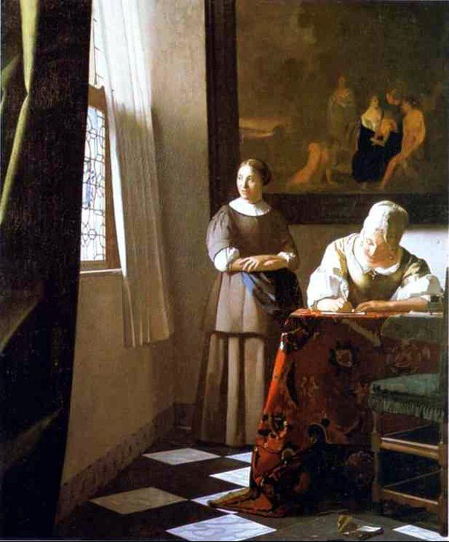Jan Vermeer. Lady Writing a Letter with Her Maid. c.1670. Oil on canvas. National Gallery of Ireland, Dublin, Ireland.