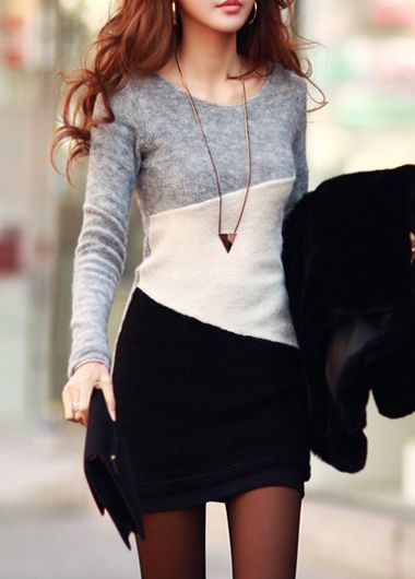 Comfortable Autumn Light Grey Long Sleeve Sweater Dress                                                                                                                                                                                 More