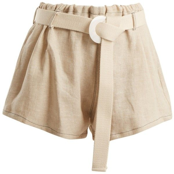 Albus Lumen Fishermans linen shorts featuring polyvore, women's fashion, clothing, shorts, relaxed fit shorts, beige shorts, woven shorts, albus lumen and lightweight shorts