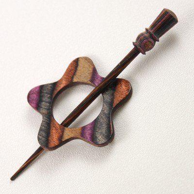 Knitters Pride Wooden Shawl Pin - Lilac Garnet