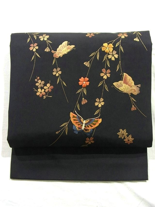 Embroidered Weeping Cherry and Butterflies Nagoya Obi