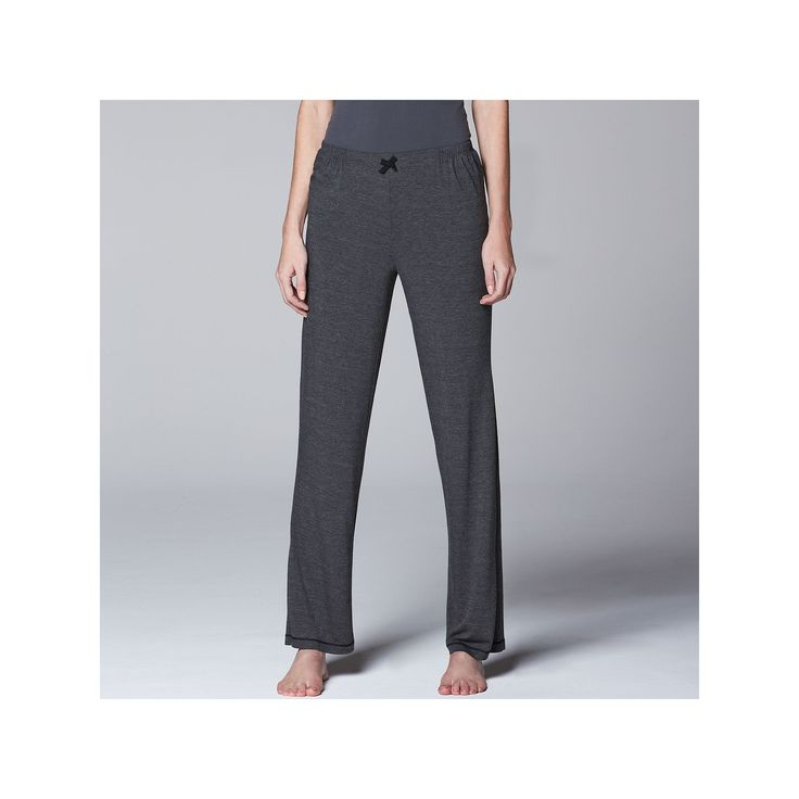 Women's Simply Vera Vera Wang Pajamas: Basic Solid Luxury Pajama Pants, Size: Medium, Grey (Charcoal)