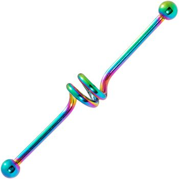 Spiral Rainbow Anodized Titanium Industrial Project Bar 40mm | Body Candy Body Jewelry