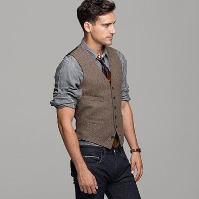 "J. Crew Cotton/Tweed Vest. It may fall in and out of 'trends"" for fashion but if it's always coming around, getting one and holding onto it for a while isn't a bad idea. Even if certain Fox T.V. singing teachers are running it into the ground. #MensFashionVest"