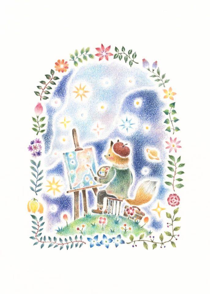 """""""Painter to Draw Stars"""" −RiLi, picture book, illustration, design ___ """"星々を描く画家"""" −リリ, 絵本, イラスト, デザイン ...... #illustration #star #painter #イラスト #星 #画家"""