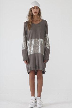 Zambesi sweater dress with metallic silver