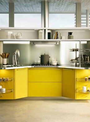 Lacquered Kitchen With Handles SKYLINE By Snaidero Design Lucci Orlandini  Design