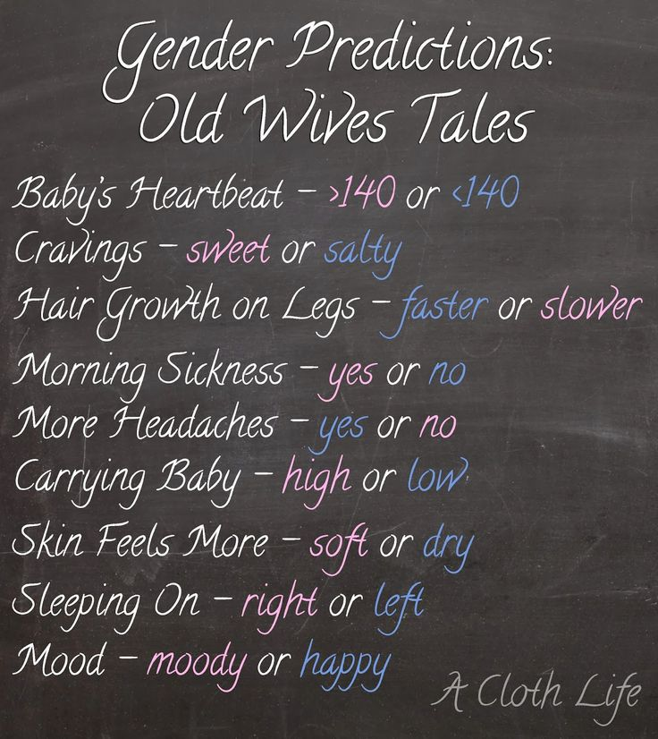 "Gender Predictions according to popular ""old wives tales"" I can believe all except the morning sickness one. I've always seen women having more morning sickness with boys."
