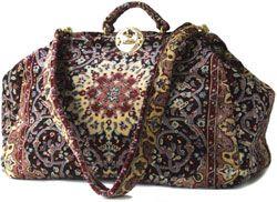 LARGE VINTAGE CARPET BAG GLADSTONE GENUINE LEATHER VGC | eBay