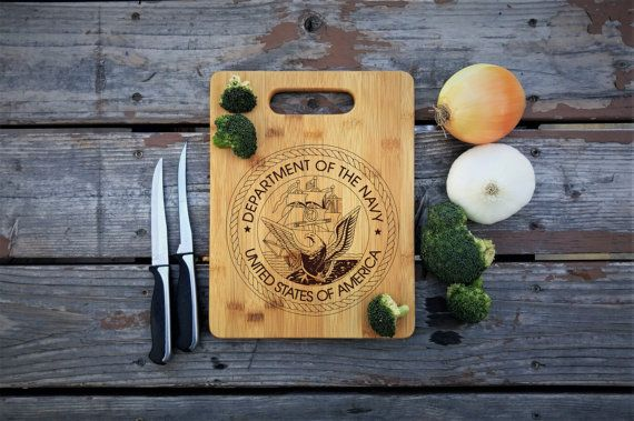 Department of the Navy Bamboo Cutting Board by UniqueEngravedGifts