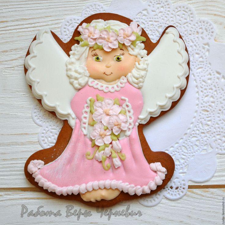 """Купить """"Розовый ангел"""" набор расписных пряников к Пасхе - пряники, расписные…"""