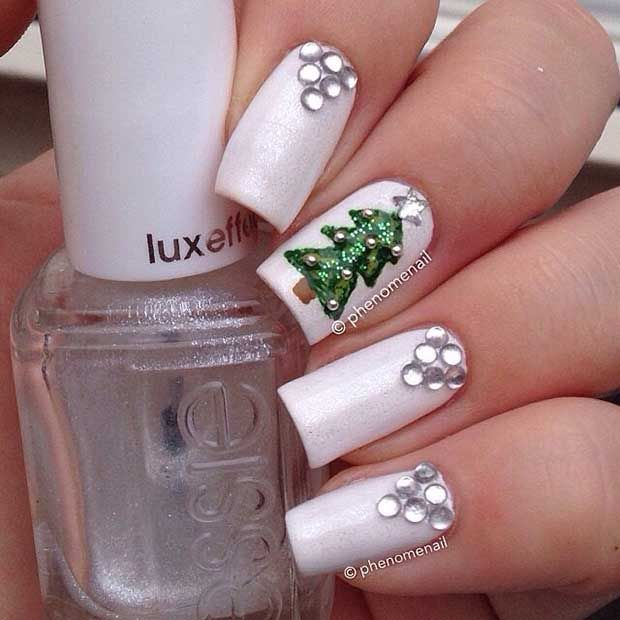 Simple Christmas Nails with Rhinestones