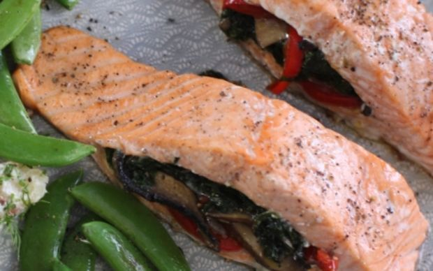 Stuffed Baked Salmon, Siba's Table on Cooking Channel