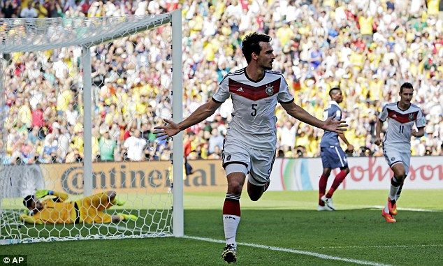 Man of the moment: Hummels runs off after scoring the goal that won Germany the game...