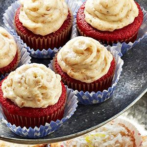 "Trisha Yearwood's Red Velvet Cupcakes ""This is your classic red velvet cake complete with cream cheese frosting,"" Trisha says. ""Only this time, you stir in some pecans!"""