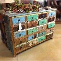 Multi Color Distressed Dresser/Buffet. Dimensions Are 60x17x41.