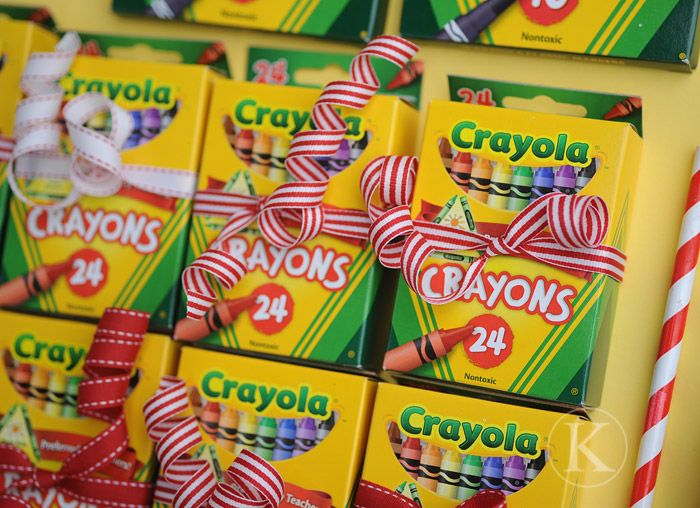 "what a fun idea! ""Wishing you a colorful Christmas"" - buy .25 boxes of crayons in August for kids to give @ Xmas/ Must remember next for when thinking about gifts."