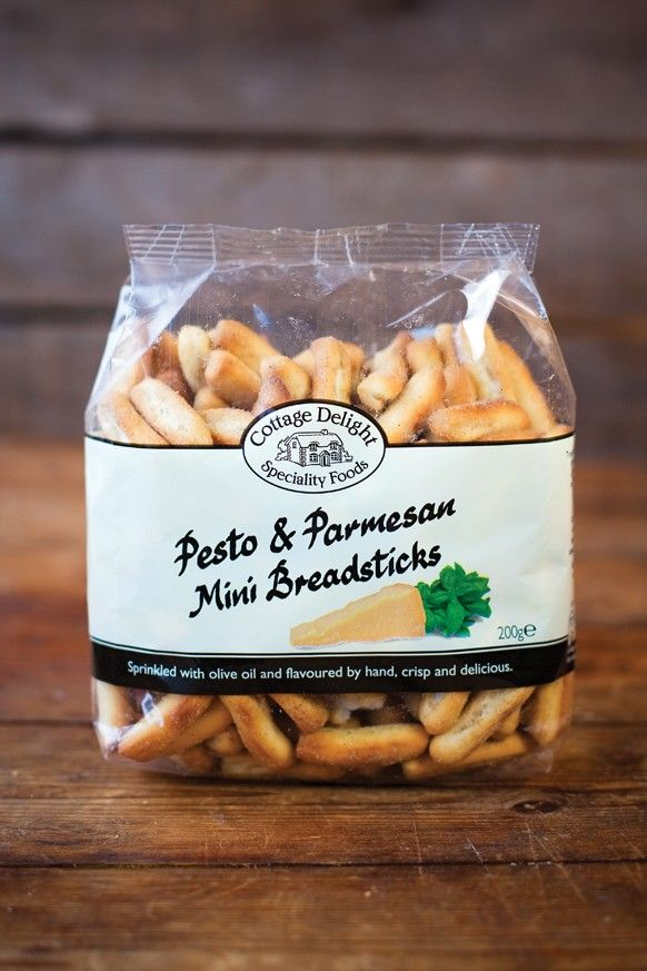 Pesto & Parmesan Mini Breadsticks  Crisp and delicious these mini breadsticks are sprinkled with olive oil and flavoured by hand.