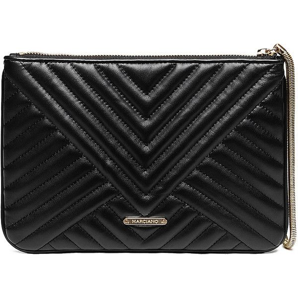 GUESS by Marciano Quilted Wristlet Clutch found on Polyvore featuring bags, handbags, clutches, black, black purse, leather purse, wristlet clutches, leather handbags and black leather clutches