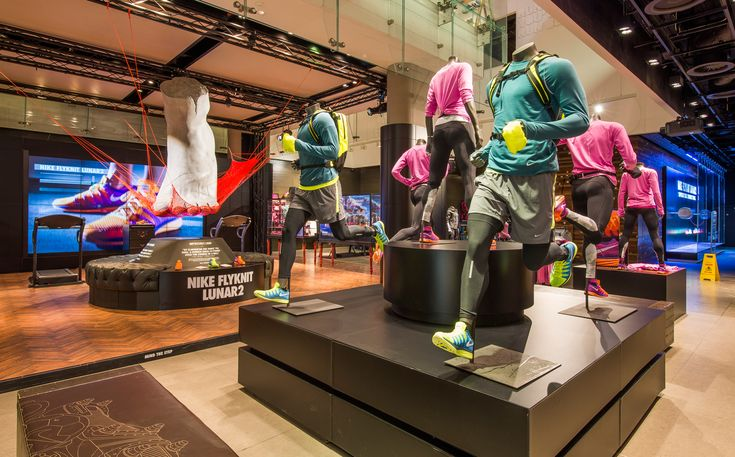 Nike retail interior flyknit lunar 2 niketown london for Retail interior design agency london