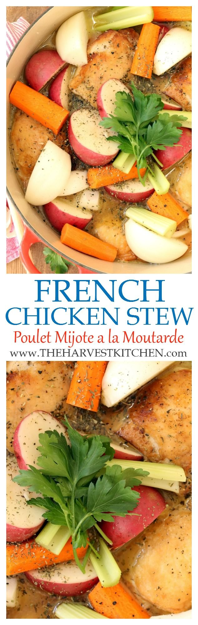 Poulet Mijote a la Moutarde is a classic French Chicken Stew. It's a quick and easy one-pot meal that you to can pull it together any night of the week.