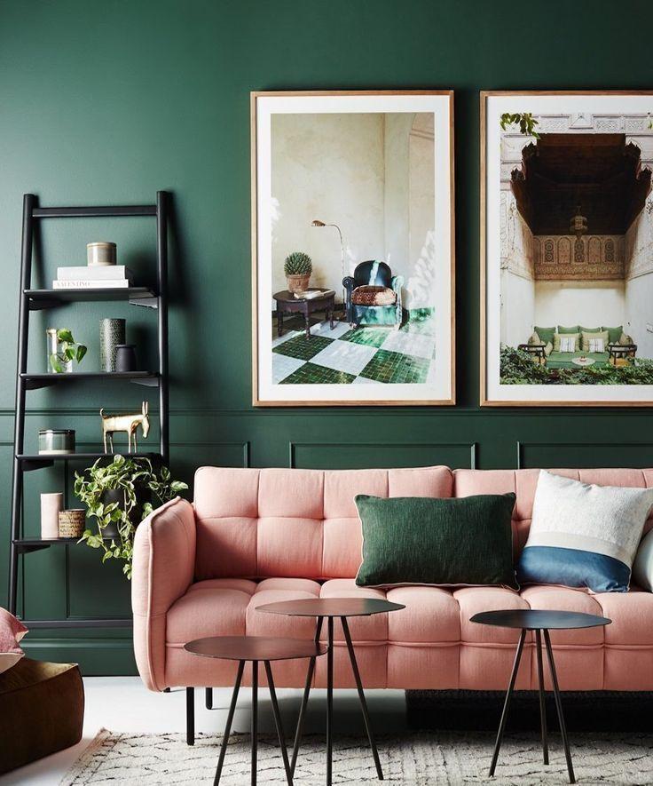 Le Vert Sapin Et Le Rose Poudre Pour Un Interieure Elegant Et Tendance Inspiration Ideedeco Decointerieure Homedesign En 2020 Deco Maison Salon Vert Salon Colore