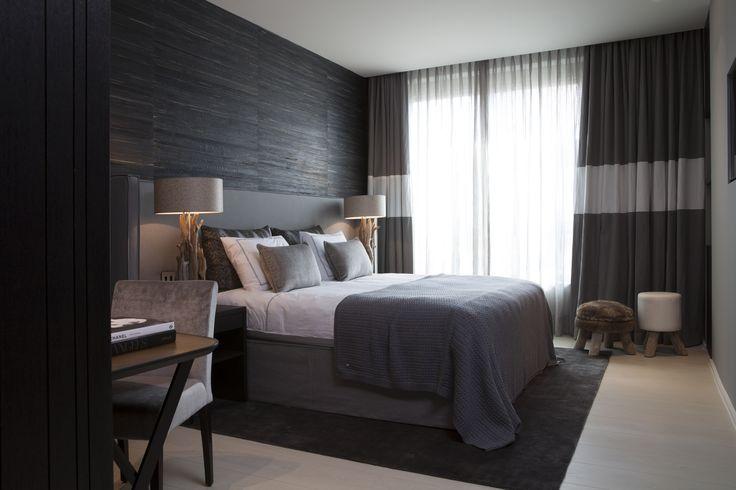 Byron & Jones Interiors - Bedroom - Grey - White - Headboard - Desk - Carpet - Lightning