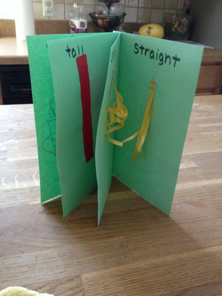 Preschool craft opposites book left right first last curly straight hot cold www.facebook.com/SaltMeadowAcademy #saltmeadowacademy