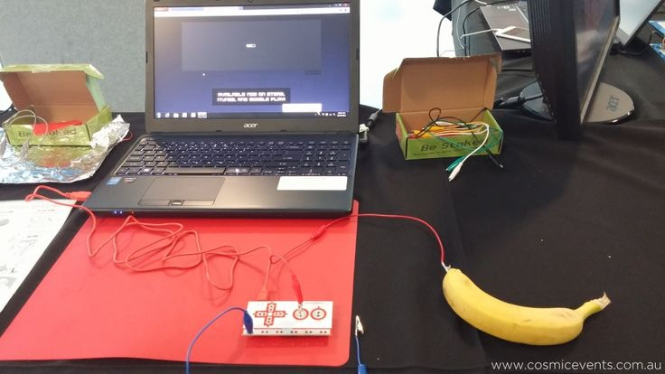 Makey Makey banana | at Careers of the Future, Cosmic Events was responsible for site and logistics management -  More information about the event: http://www.cosmicevents.com.au/news/national-science-week-careers-future/