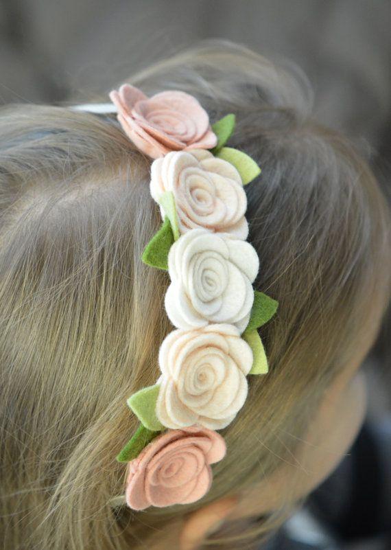 Wedding Hair Accessory Felt Flower Garland Headband by bloomz