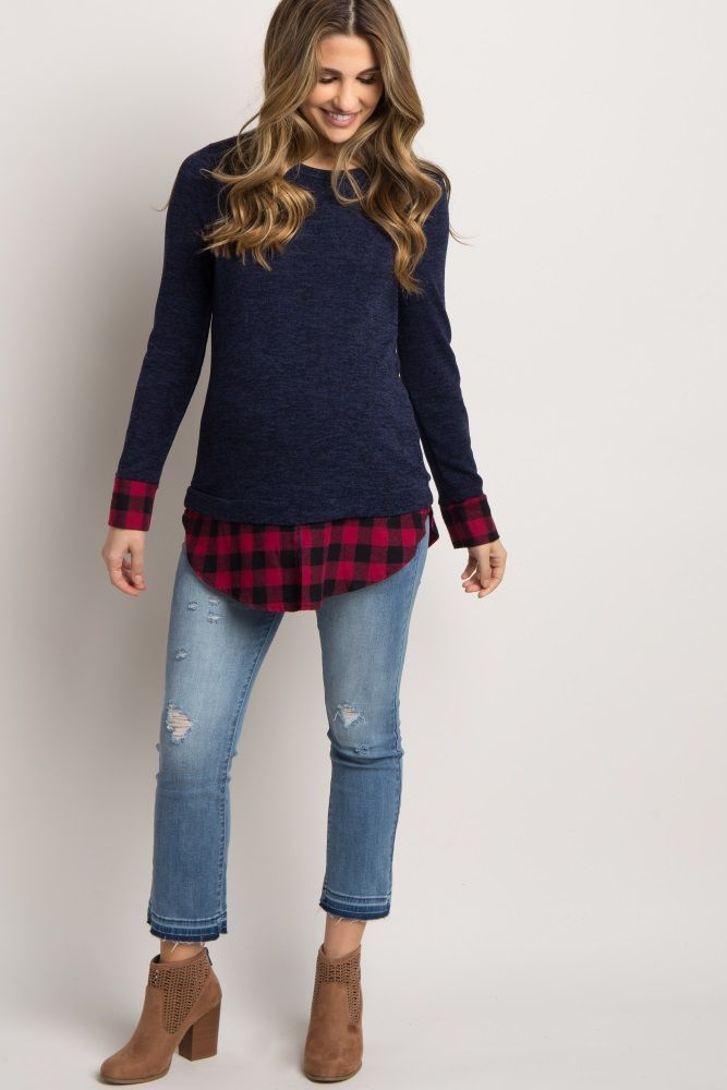 Navy Plaid Shirttail Sweater – Maternity Fashion – Schwanger Kleidung
