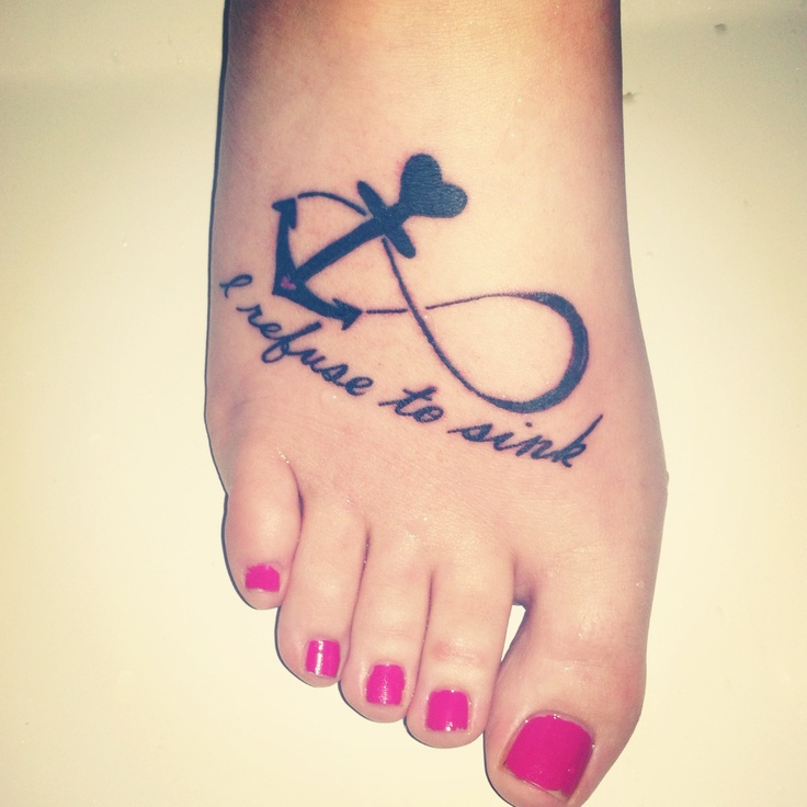 "My first tattoo. It hurt pretty bad but not too bad (:  this tattoo stands for all the struggles in my life. Now until forever, I won't let anyone bring me down. ""I refuse to sink"" as the tat says. The answer to why I got this placed on my foot is the answer to this question, ""what's the first thing that goes under water when you sink?"" (:  Done by Big Mike from studio 819 in Cookeville, TN.  comment."