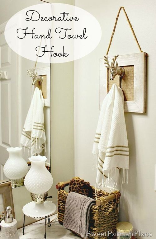 Polished Casual Decorative Hand Towel Holder- Make one for your own bathroom! So cute- DIY