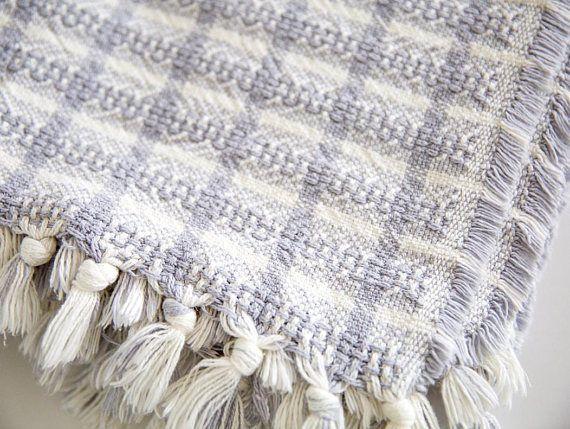 Grey Cotton Throw Blanket Boho Sofa Throws Couch