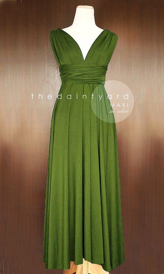 MAXI Olive Infinity Dress Bridesmaid Dress Convertible Dress Multiway Dress Wrap Dress Green Full Length Prom Dress Maxi Dress Twist Dress
