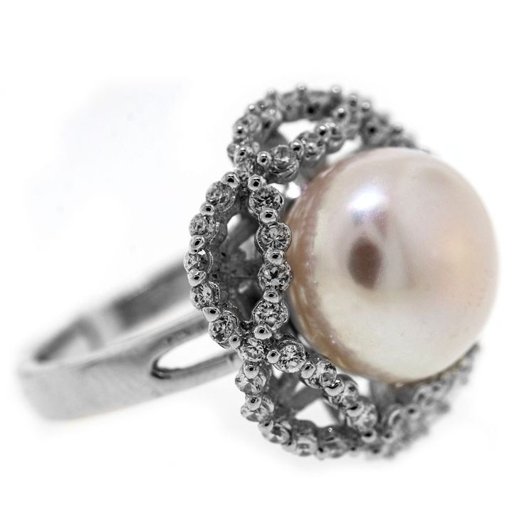 0.75 Cttw G VS Round Diamonds Freshwater Pearl Engagement Ring 14K White Gold #SolitairewithAccents #Freshwater #Pearl #Diamonds #Engagement #Ring #14K #Anniversary #Ring #Sale #Gift