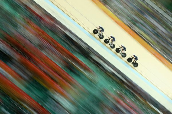 Team Great Britain competes in the Women's Team Pursuit first round on Day 8 of the Rio 2016 Olympic Games at the Rio Olympic Velodrome on August 13, 2016 in Rio de Janeiro, Brazil. (Aug. 12, 2016 - Source: Lars Baron/Getty Images South America)
