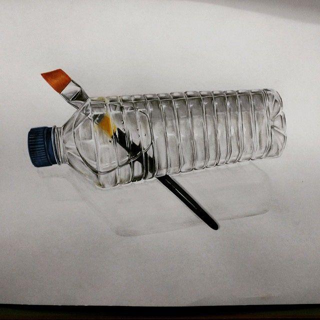 물병(플라스틱) & 붓
