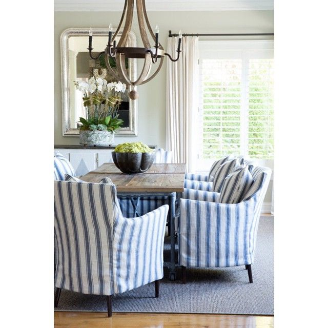 Handsome Striped Navy White Slipcovers In Dining Room By Sam Allen Interiors
