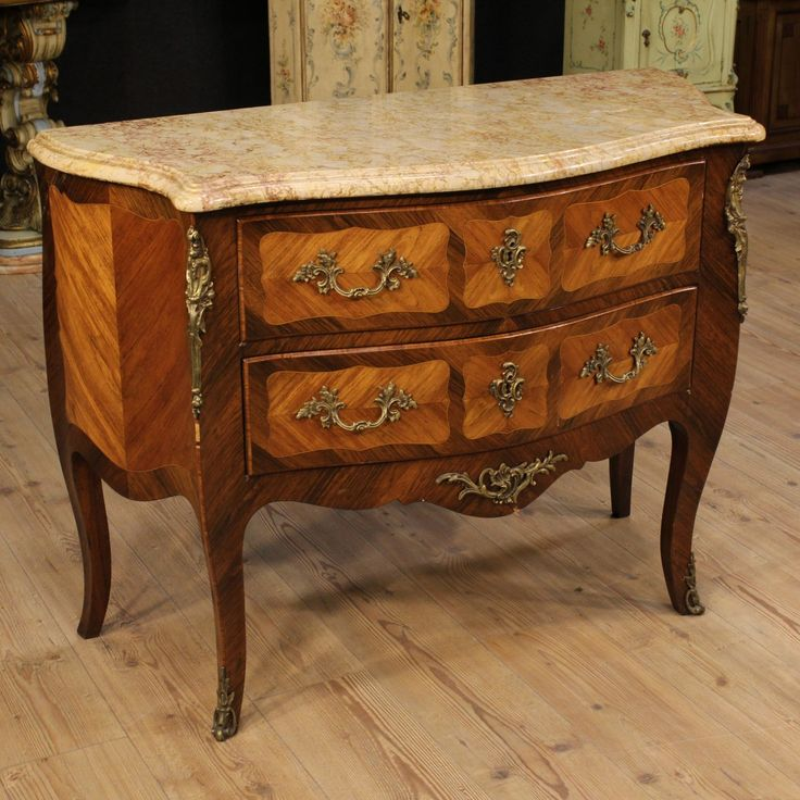 Price: 1450€ Elegant French commode from the late 19th century. Furniture made by rosewood, palisander with maple thread. Dresser with two drawers, richly decorated with bronze. Furniture equipped with an original marble top. Key missing, it presents some small signs of the time. In good condition. #antiques #parino Visit our website www.parino.it