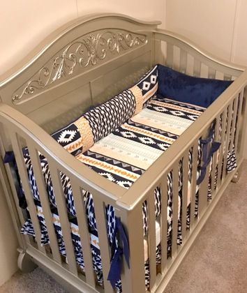 Mint, Navy, and Gold Aztec Crib Bedding