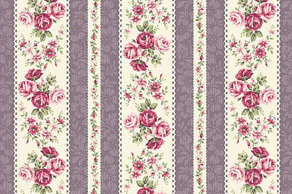RURU Bouquet Rose For You  Cotton Fabric Quilt Gate RU2220-14D Rose Stripes Purple Cream